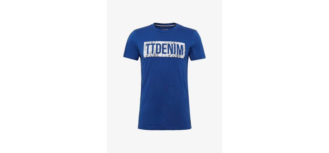 Gutes Verkauf Günstiger Preis Spielraum Erhalten Zu Kaufen Tom Tailor Denim T-Shirt T-Shirt mit Schrift-Print Gut Verkaufen Online Angebote Online Rabatt Heißen Verkauf OuP5EHUgL