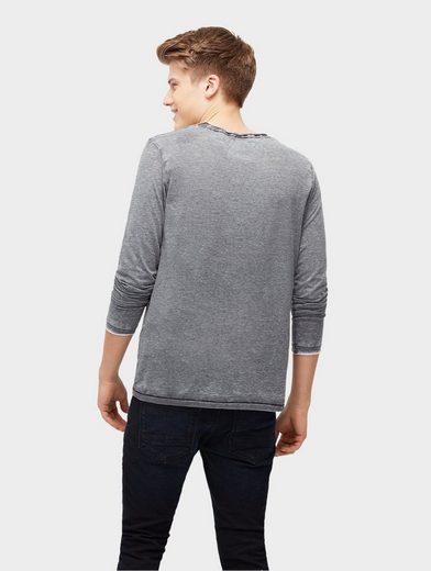 Tom Tailor Denim T-Shirt Langarmshirt mit Brusttasche