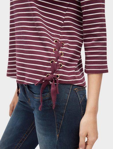Tom Tailor Denim 3/4-Arm-Shirt gestreiftes Shirt mit Schnür-Detail