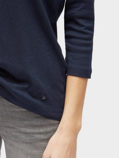 Tom Tailor 3/4-Arm-Shirt mit Glitzer-Ausschnitt