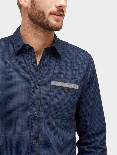 Tom Tailor Langarmhemd gemustertes Hemd mit Brusttasche