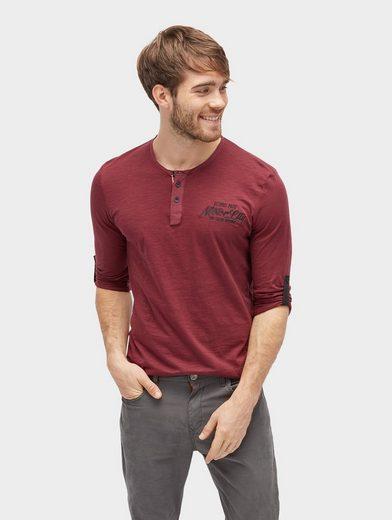 Tom Tailor Langarmshirt Langarmshirt mit Schrift-Stickerei