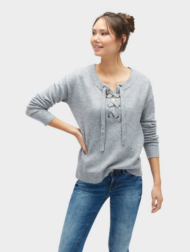 Tom Tailor Denim Strickpullover Pullover mit Schnürung