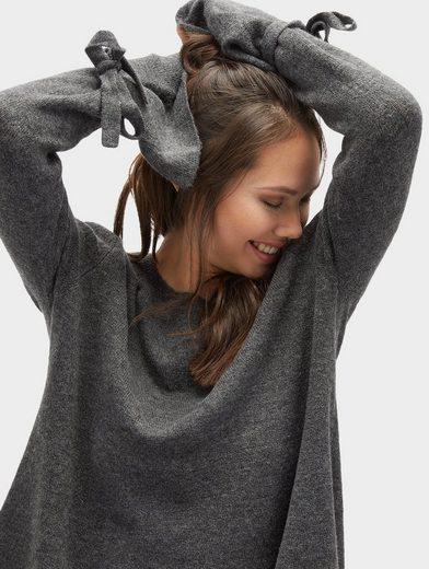 Tom Tailor Denim Longpullover Pullover mit Bindeband am Ärmel
