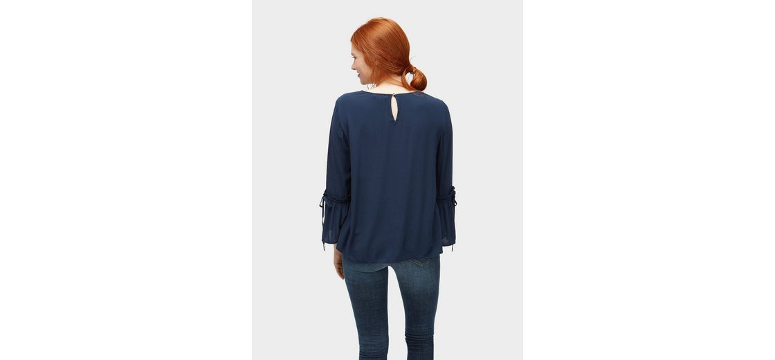 Tom Shirtbluse Tom Tailor Bluse mit Volant盲rmeln Denim Tailor rWr6nqSa