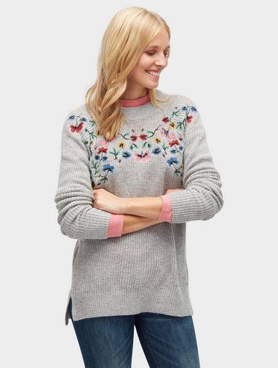 Tom Tailor Strickpullover Pullover mit Blumen-Stickerei vorne