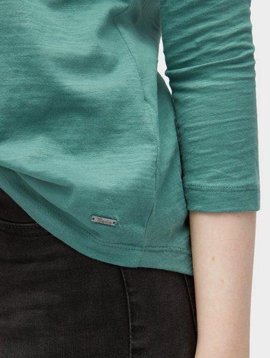 Tom Tailor Denim T-Shirt Shirt mit Zierknopfleiste hinten