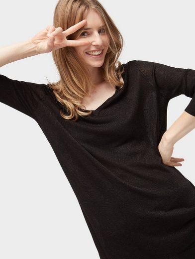 Tom Tailor Denim Longpullover Pullover mit Cut-Outs und Glitzer