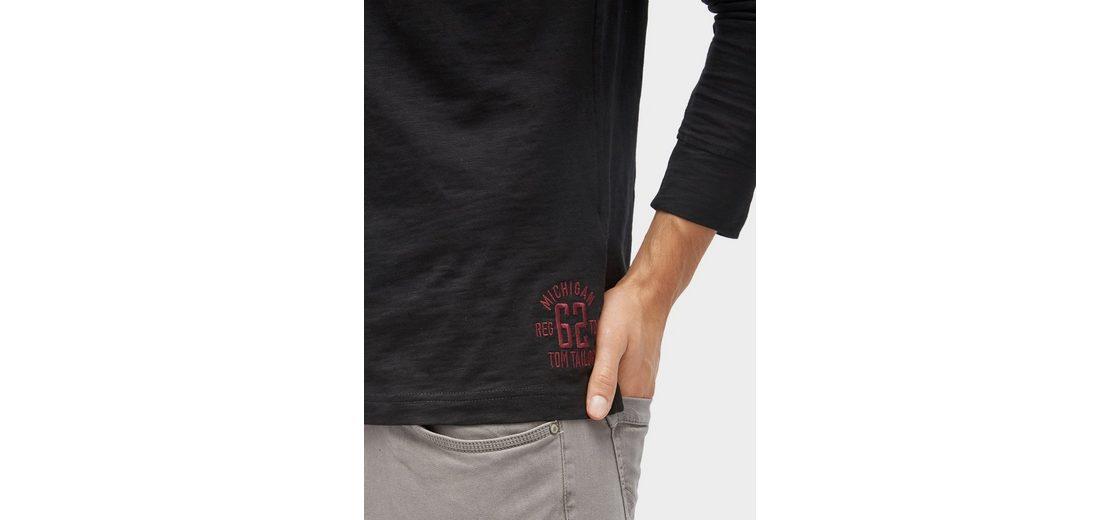 Tom Tailor Langarmshirt langärmliges Polo-Shirt mit Print Bilder Im Internet Freies Verschiffen Neue Ankunft Ausgang Finden Große Große Diskont Online Auslass-Websites ueNYHi