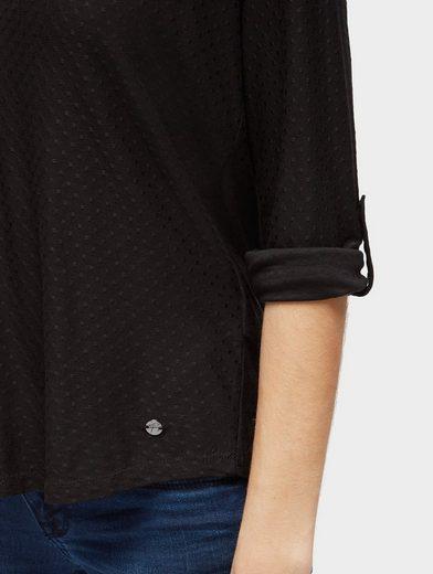Tom Tailor Langarmshirt mit Punkte-Struktur
