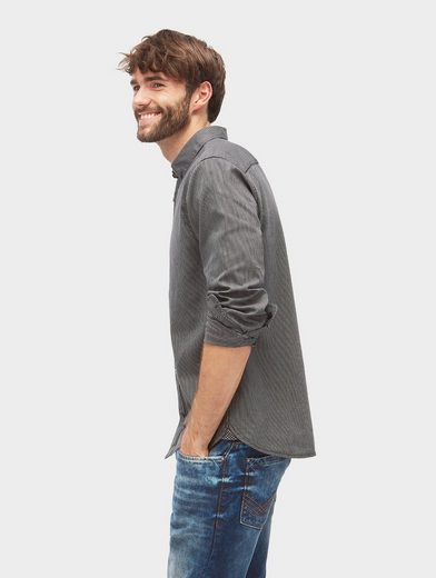 Tom Tailor Langarmhemd leicht gemustertes Button-Down