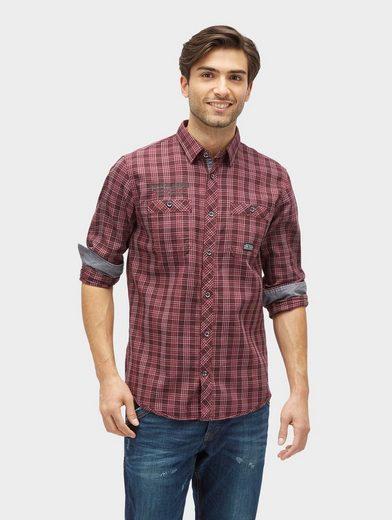 Tom Tailor Langarmhemd gemustertes Hemd mit Brusttaschen