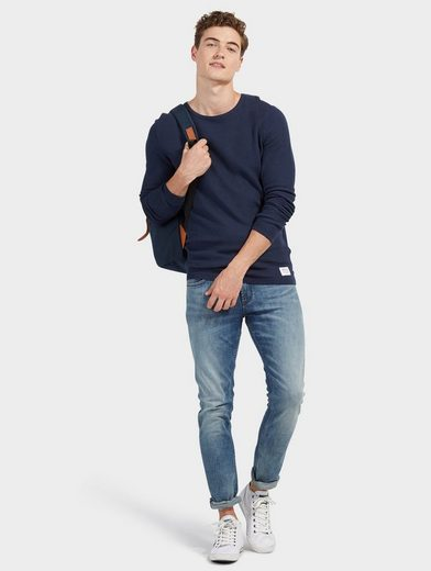 Tom Tailor Denim Rundhalspullover aus schlichtem Strick