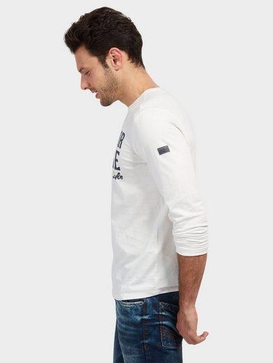 Tom Tailor Langarmshirt Langarm mit Schrift-Print