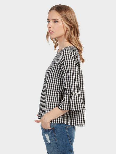 Tom Tailor Denim Shirtbluse karierte Tunika mit Stickerei