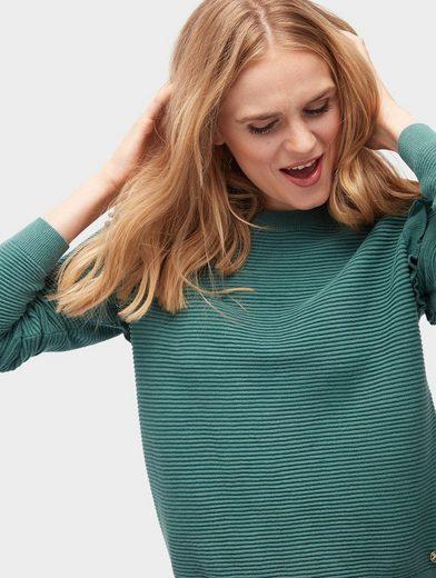 Tom Tailor Denim Rundhalspullover Pullover mit Rüschen-Aufsatz