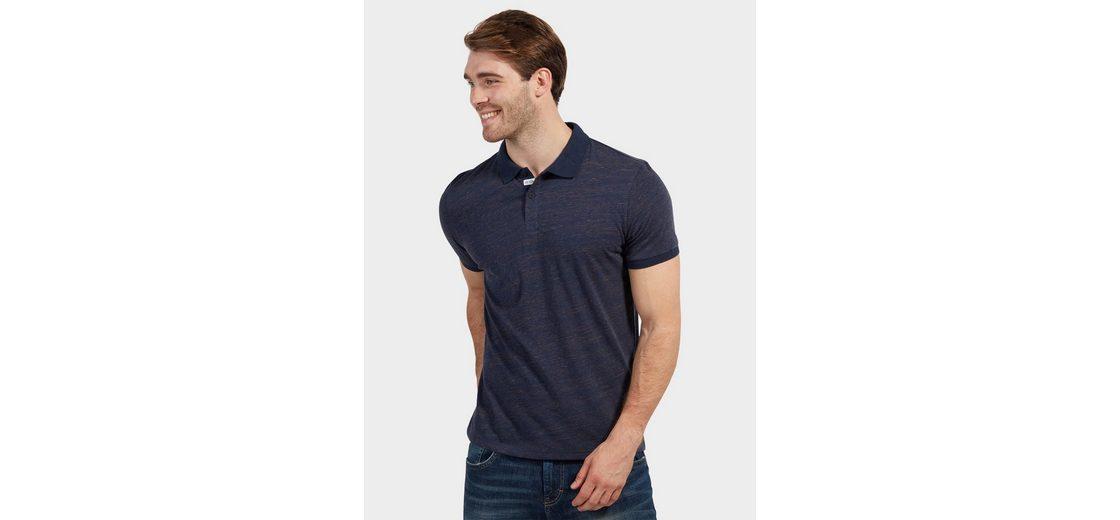 Tom Tailor T-Shirt Polo in Melange-Optik Auslasszwischenraum jyRWxN