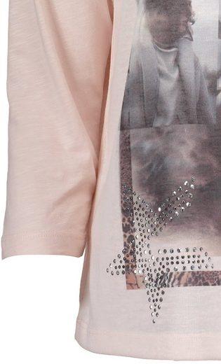 Public Shirt mit platziertem Frontprint und Strasssteinchen