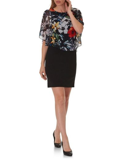 Betty Barclay Dress In Chiffon Layer-look With Floral Pattern