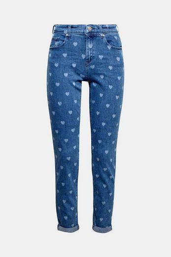ESPRIT Stretch-Jeans mit bleached Herzchen