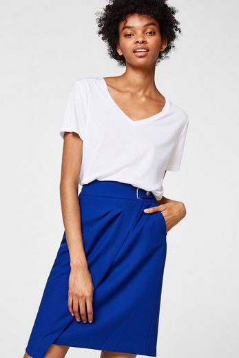 Esprit Pencil Skirt With Wrap-effect