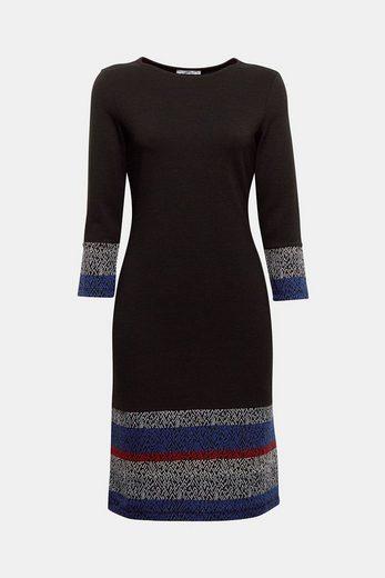 EDC BY ESPRIT Ripp-Jersey-Kleid mit Ikat-Details
