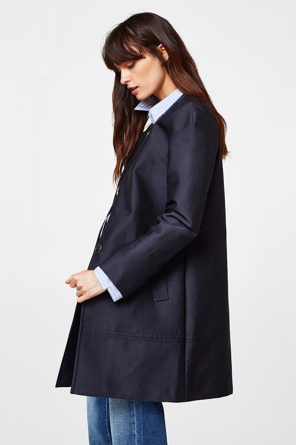 ESPRIT COLLECTION Schimmernder Mantel aus Doppelgewebe