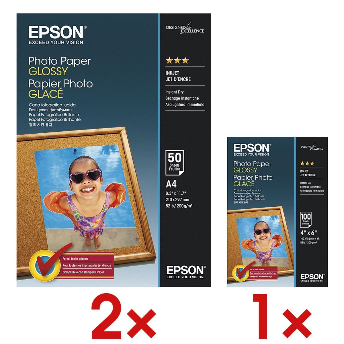 Epson 3x Fotopapier »Photo Paper Glossy« 1 Set