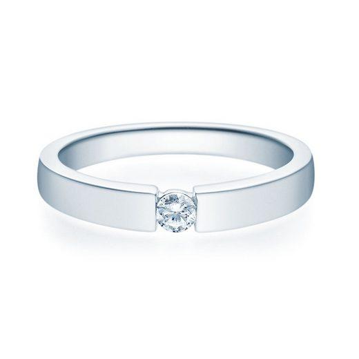 Stella-Jewellery Verlobungsring »585er Weißgold Verlobungsring Brillant - Gr.54«, mit Brillant 0,08ct. - Poliert / U - Profile