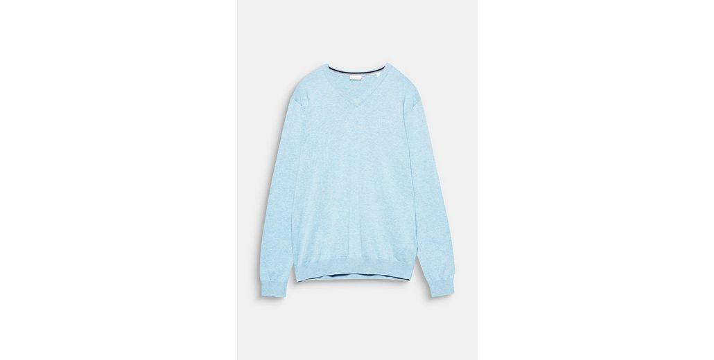 ESPRIT Pullover mit Logo-Stitching, aus Baumwolle