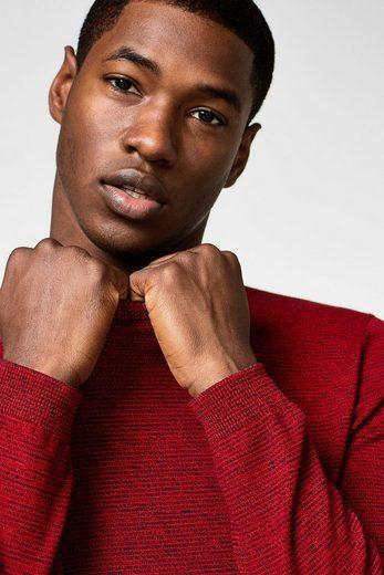 ESPRIT Sweater mit Textur, aus reiner Baumwolle
