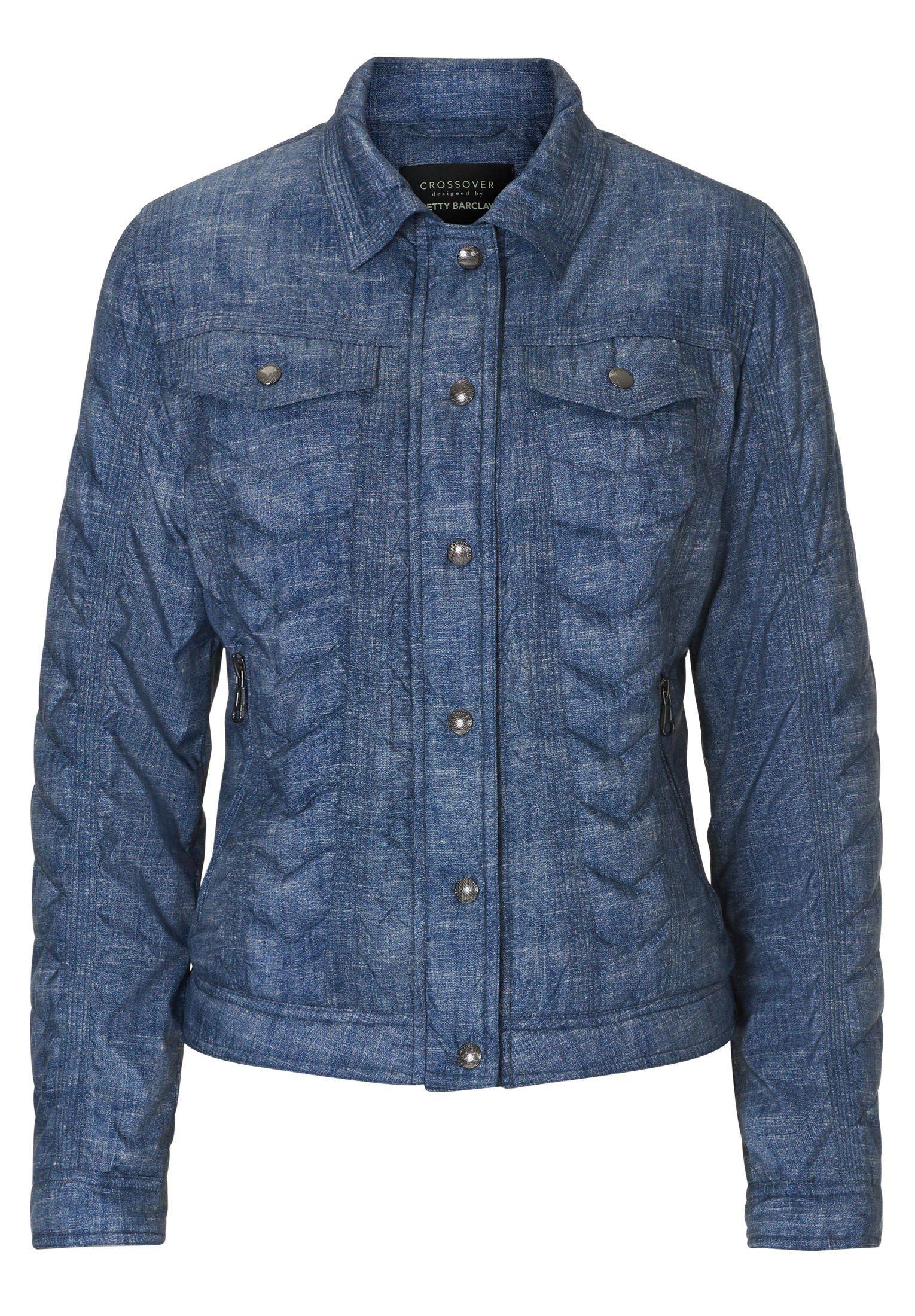 Jeansjacke, Dark Blue / Light Blue, Umlegekragen, L: 54 cm, Eingrifftaschen Stil, langarm, für Frauen, Kapuze Betty Barclay