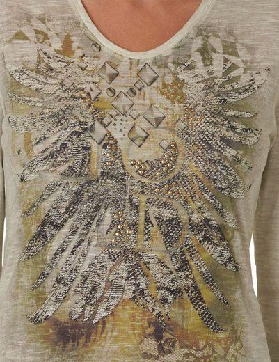 Betty Barclay Gemustertes Langarmshirt mit Steinchen Applikation