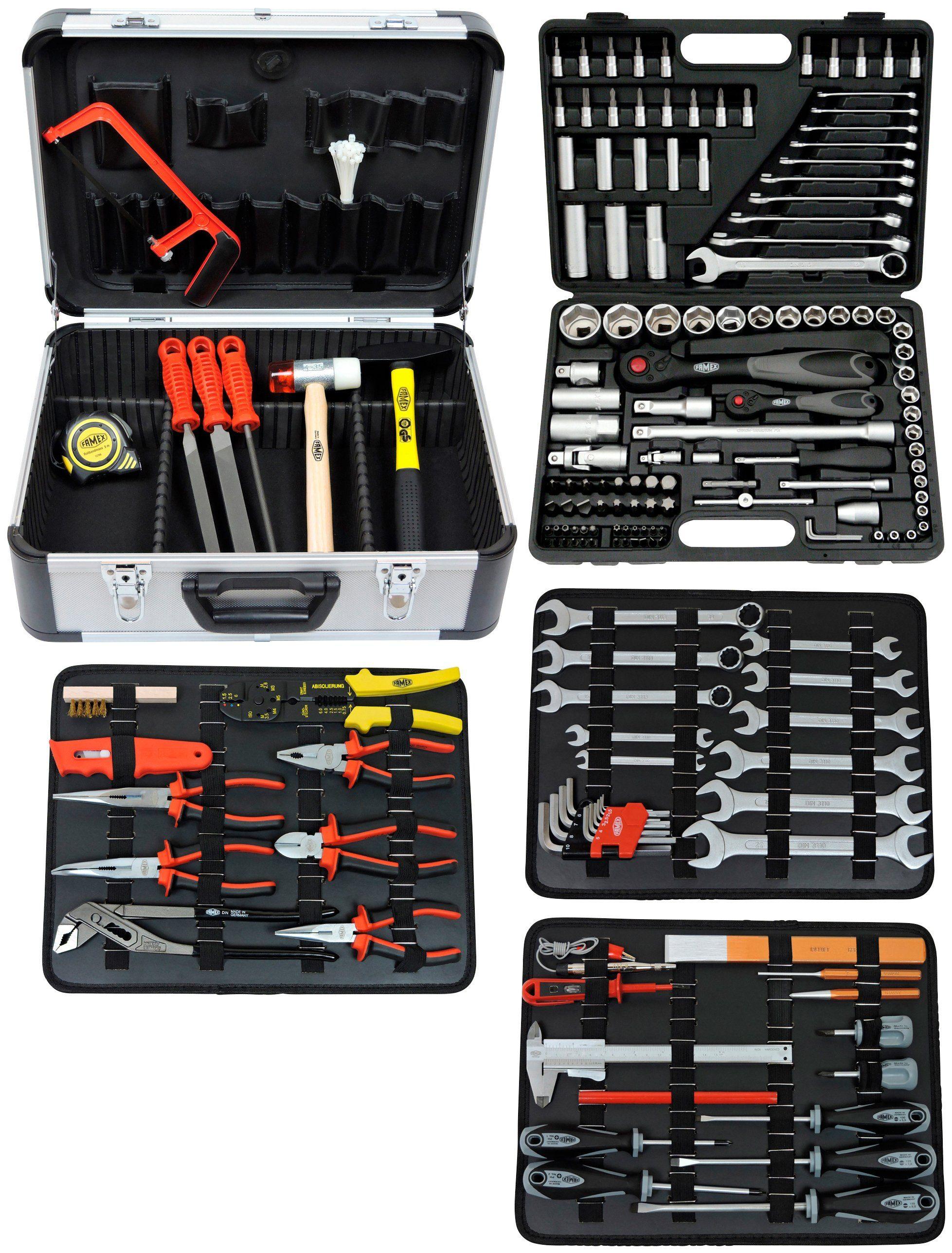 FAMEX Werkzeugkoffer »Mechaniker Komplettset«, mit Steckschlüsselsatz, 174-/insgesamt 214-teilig