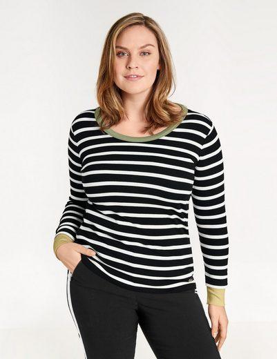 Samoon T-Shirt Langarm Rundhals Longsleeve aus Ripp-Jersey