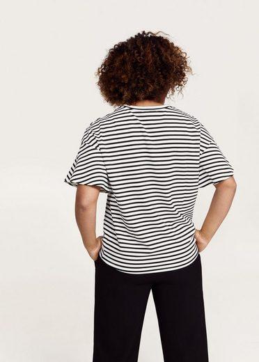 VIOLETA by Mango Gestreiftes T-Shirt mit Applikationen