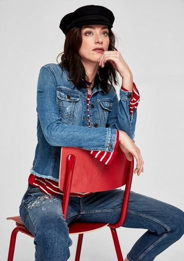 s.Oliver RED LABEL Denimjacke mit Fransensaum