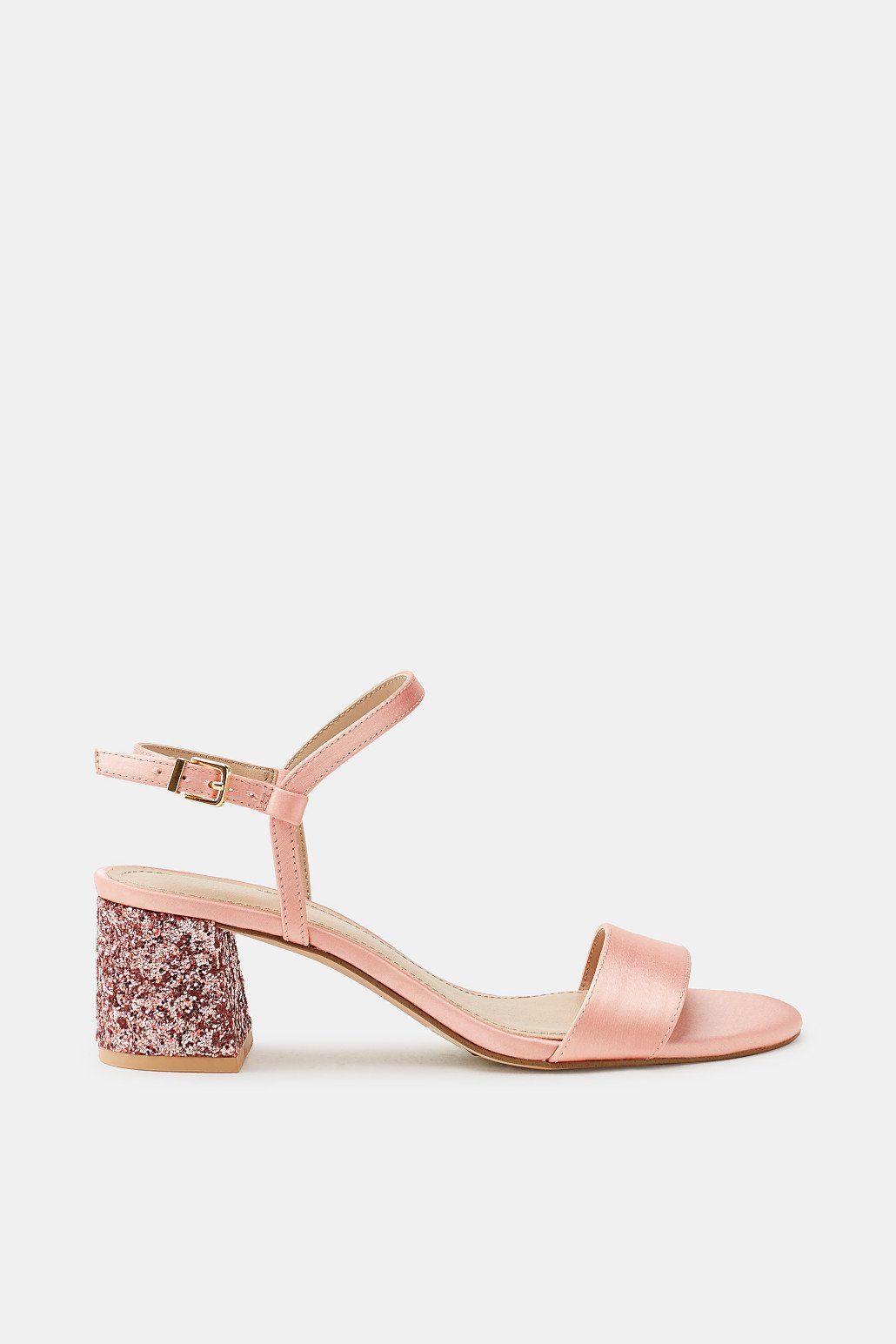 ESPRIT Satin-Sandalette mit Glitter-Absatz kaufen  LIGHT PINK