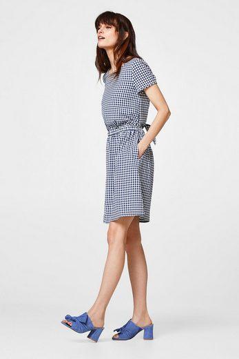 ESPRIT Kleid mit Vichy-Karo und Knoten-Detail