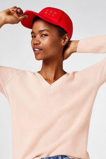 ESPRIT Ripp-Pullover mit doppeltem V-Ausschnitt