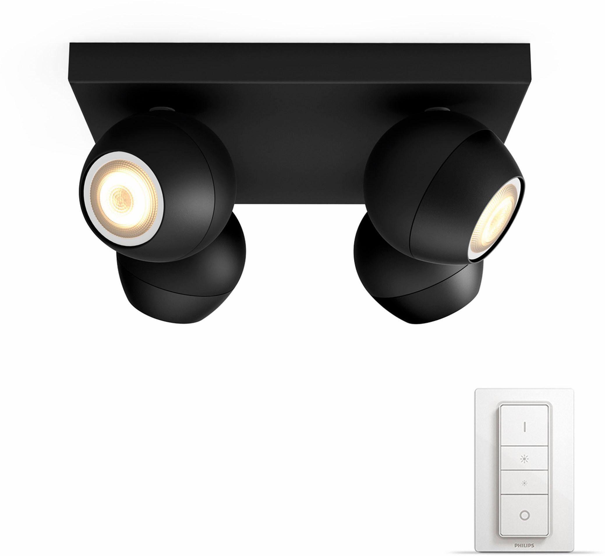 Philips Hue LED Spot Buckram schwarz 4flg. inkl. Dimmschalter. Der einf. Einstieg in Ihr Smart Home