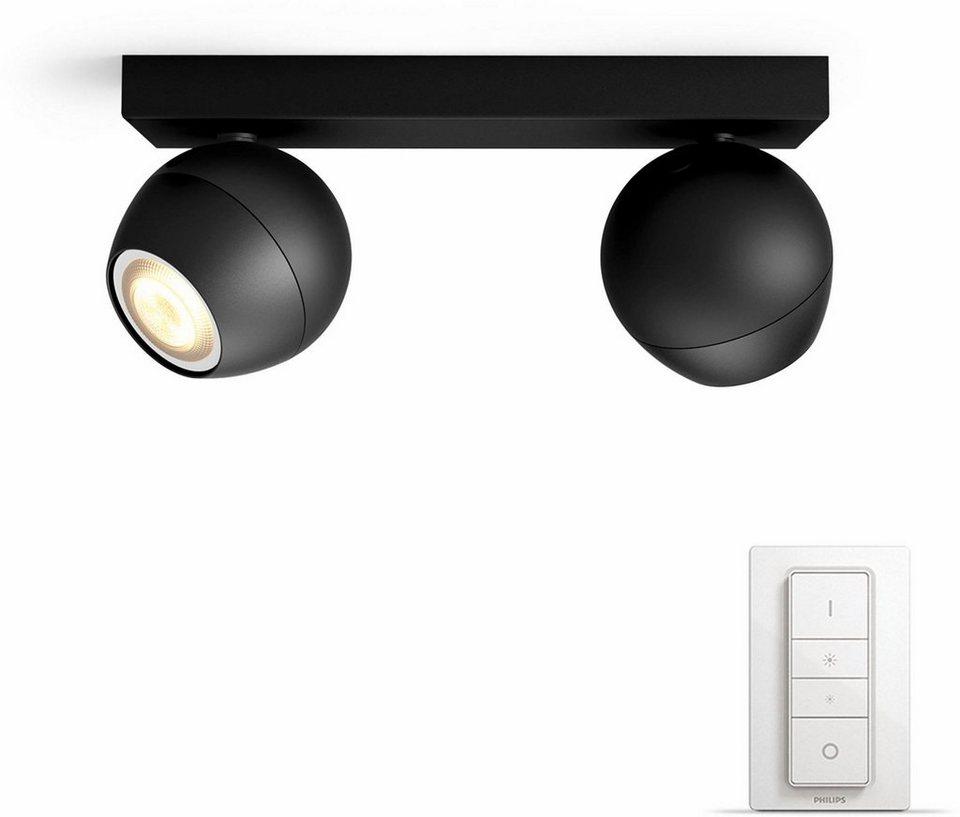 philips hue led spot buckram schwarz 2flg inkl dimmschalter der einf einstieg in ihr smart. Black Bedroom Furniture Sets. Home Design Ideas