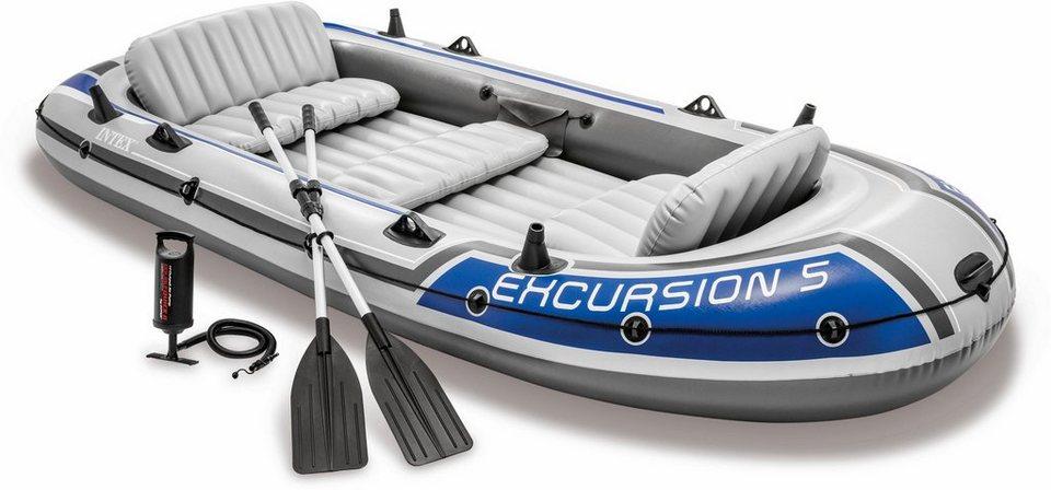 intex schlauchboot excursion 5 set mit 2 paddeln und. Black Bedroom Furniture Sets. Home Design Ideas