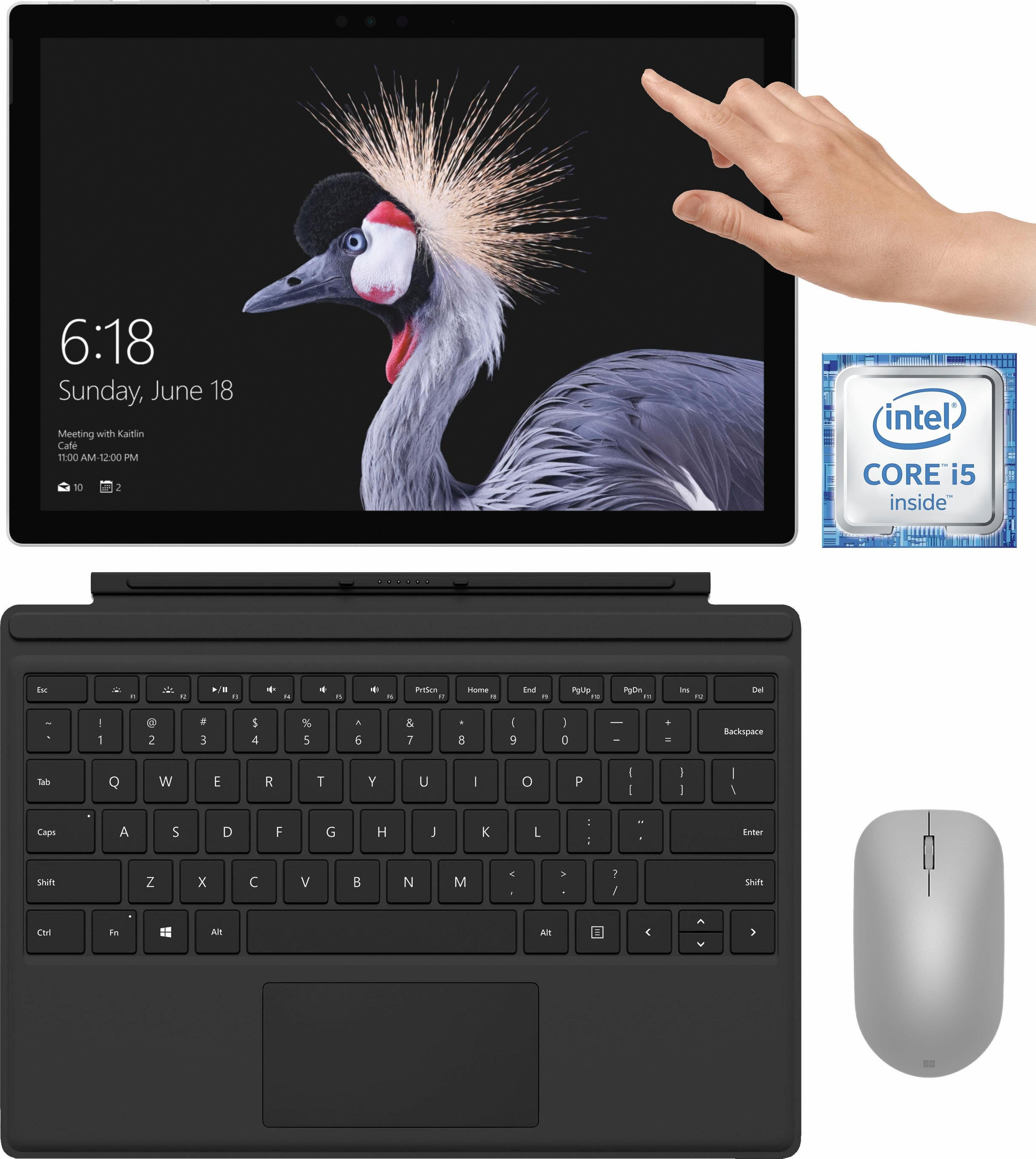 Microsoft Surface Pro Convertible Notebook (31,2 cm/12,3 Zoll, Intel Core i5, 128 GB SSD, inkl. Surface Pro Type Cover + Surface Maus + Office 365 Personal (ESD)