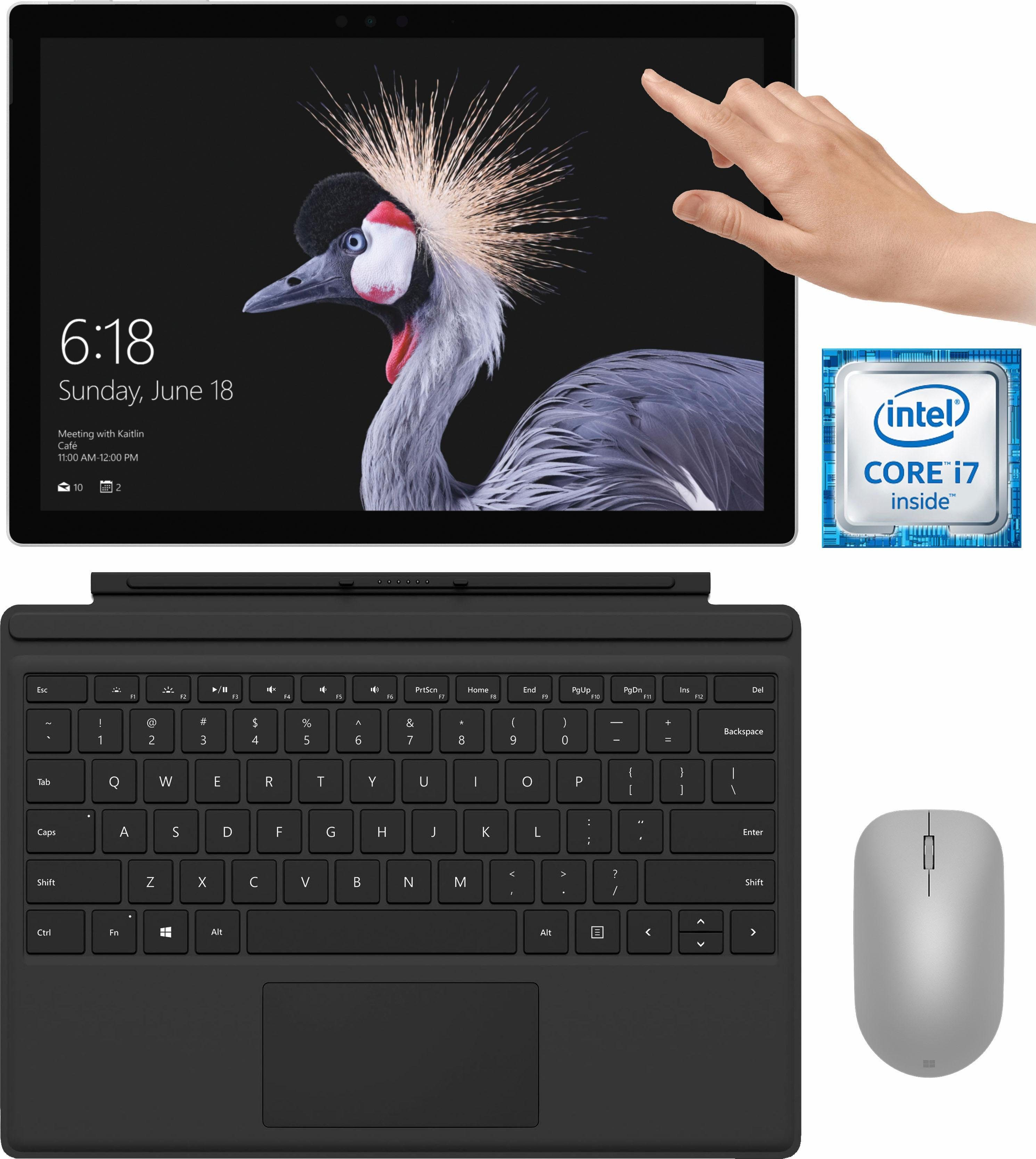 Microsoft Surface Pro Convertible Notebook (31,2 cm/12,3 Zoll, Intel Core i7, , 512 GB SSD, inkl. Surface Pro Type Cover + Surface Maus)