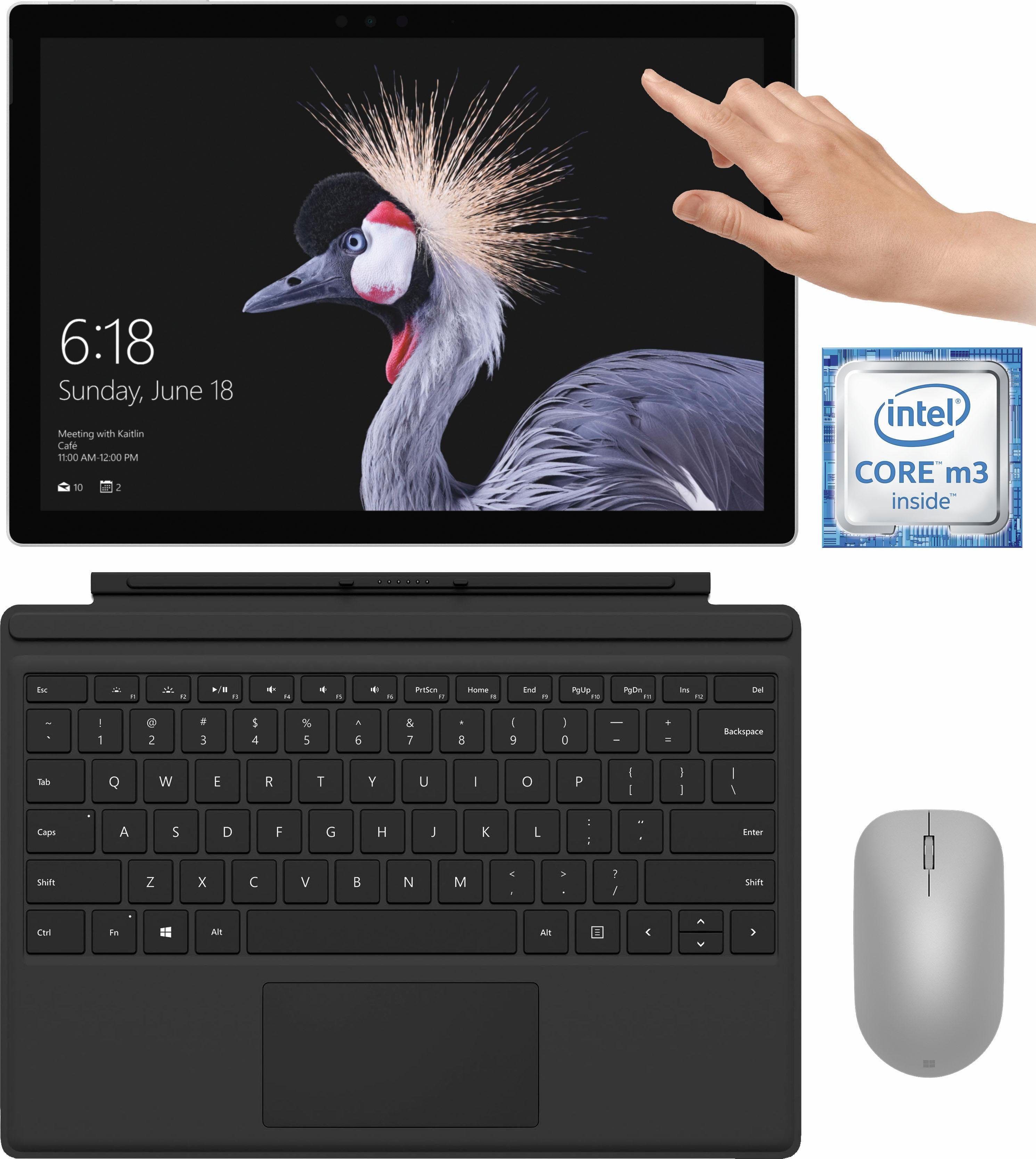 Microsoft Surface Pro Convertible Notebook (31,2 cm/12,3 Zoll, Intel Core m3, 128 GB SSD, inkl. Surface Pro Type Cover + Surface Maus + Office 365 Personal (ESD)