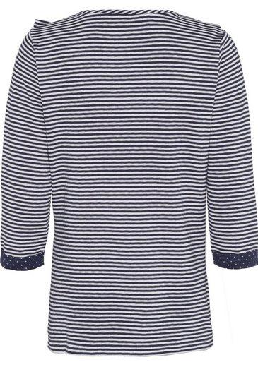 BASEFIELD 3/4-Arm-Shirt, mit Ringelmuster und Volants