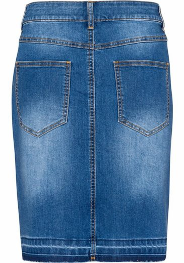 Basefield Jeans Skirt, With Open Hem And Slit Front