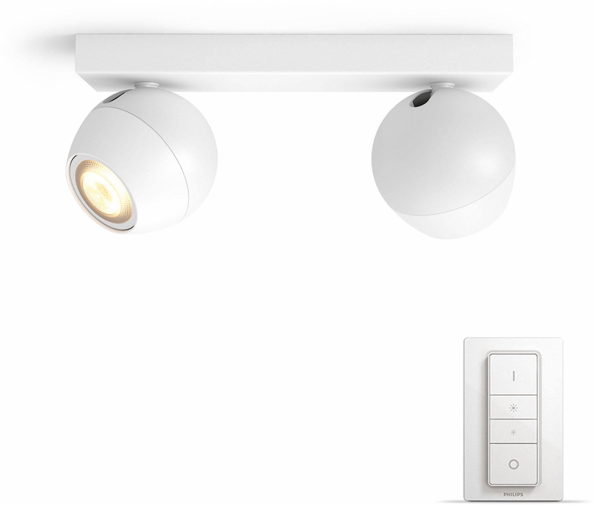 Philips Hue LED Spot Buckram weiß 2flg. inkl. Dimmschalter – der einf. Einstieg in Ihr Smart Home