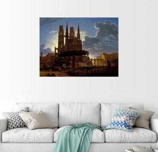Posterlounge Wandbild - Karl Friedrich Schinkel »Dom über einer Stadt«